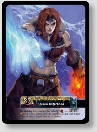 Queen Angerboda card from World of Warcraft TCG's Scourgewar Icecrown